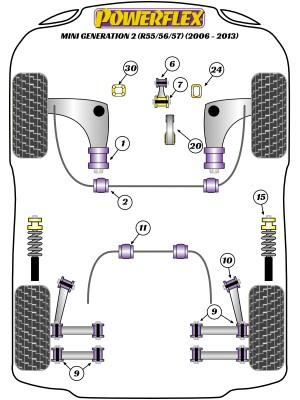 FOR BMW MINI ONE MK2 R56 2006/>13 FRONT 2 WISHBONE LOWER ARM REAR BUSH MOUNTINGS
